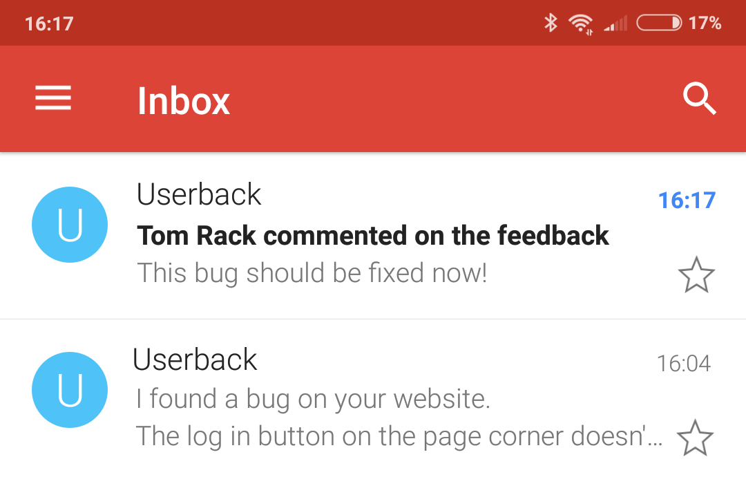 Userback - Notification